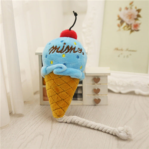 Dog Toy Plush Squeak Toy Chew Ice Cream