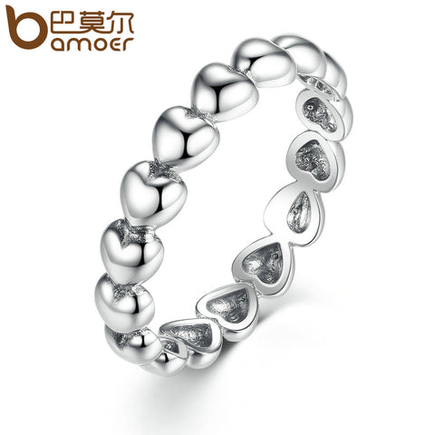 BAMOER Silver Color 4mm Heart to Heart Smooth Surface Cheap Rings Women Wedding Jewelry 3 Size Wholesale PA7219