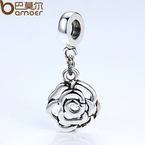 BAMOER Brand New Original Silver Color Rose Flower Charms for Women DIY Fashion Jewelry Necklaces & Pendants Accessories PA5298