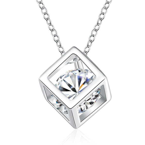 Elegant Women Square Shape 925 Sterling Silver Necklaces