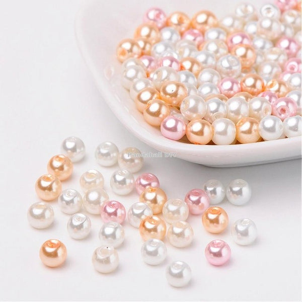 Mixed Color Pearlized Glass Pearl Beads