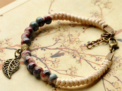 Leaves Bracelets Women Men Ceramic Beads Weave Rope Chain Cuff Bangle Leaf Charm Wristbands Fashion Jewelry Accessories