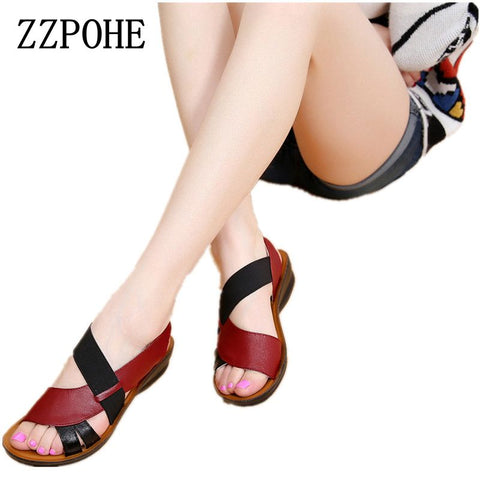 fb2d6cd78 ZZPOHE Summer New Woman Soft bottom middle-aged Sandals Fashion comfortable  mother sandals leather large ...