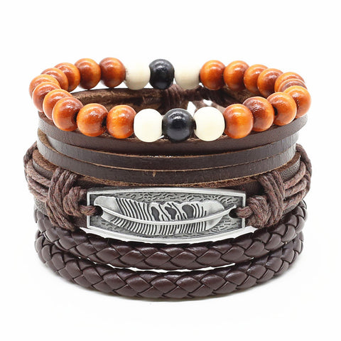 4pcs/set Handmade Fashion Trendy Vintage Handmade Wood Bead Skull Anchor Charm Men Leather Bracelet For Women Jewelry Accessory
