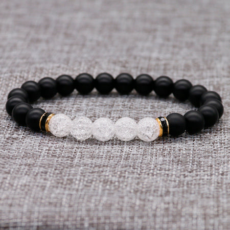 Fashion 8MM Black Matte Beads With White Cracked Crystal Bracelet For Womens Men Yoga Lover Rhinestone Bangle Accessories