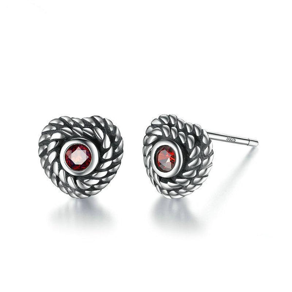 Rope Winding Heart 925 Sterling Silver Vintage Red Zirconia Gothic Stud Earrings