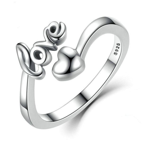 100% 925 Sterling Silver Love and Heart Ring