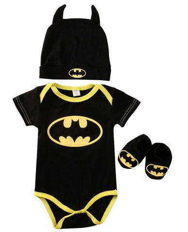 2017 Summer Cute Batman Newborn Baby Boys Infant Rompers+Shoes+Hat 3Pcs Outfit Baby Boys Clothes Set
