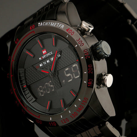 Fashion Men Watches Full Steel Quartz LED Watch