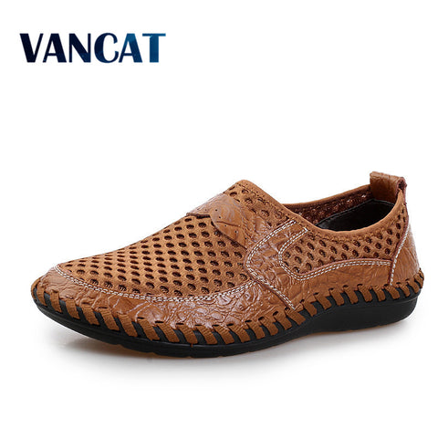 2017 Summer Breathable Mesh Shoes Mens Casual Shoes Genuine Leather Slip On Brand Fashion Summer Shoes Man Soft Comfortable