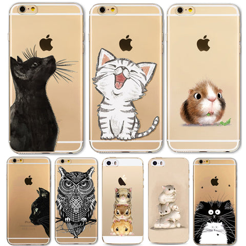 Soft TPU Silicon Cute Cat Owl Animal Phone Cases