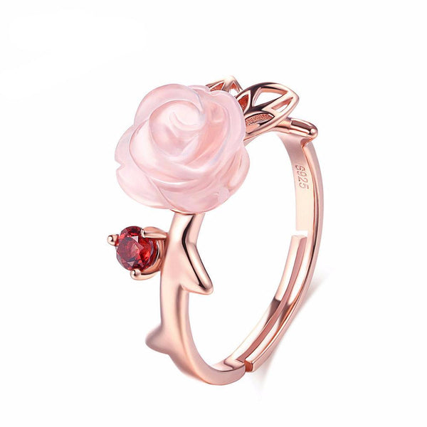 Pink Flower Natural Gemstone Rose Quartz Ring 925 Sterling Silver Gold Plated