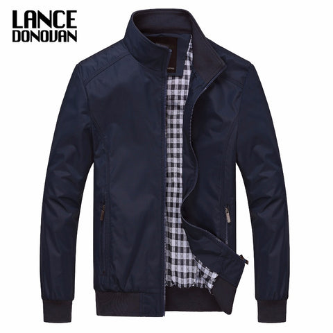 Solid color New 2017 Casual Jacket M-5XL 6XL Men Spring Autumn Outerwear Mandarin Collar Clothing