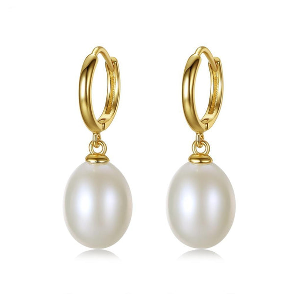 925 Sterling Silver Clip on Earrings 10-11mm Rice Pearl
