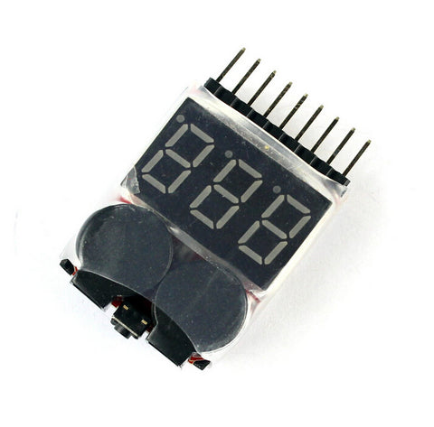 F00872 Lipo Battery Voltage Tester Volt Meter Indicator Checker Dual Speaker 1S-8S Low Voltage Buzzer Alarm 2in1 2S 3S 4S 8S