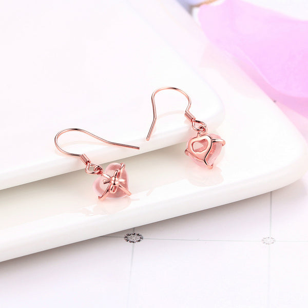 Natural Gemstone Rose Dangle Earring 925 Sterling Silver Gold Plated