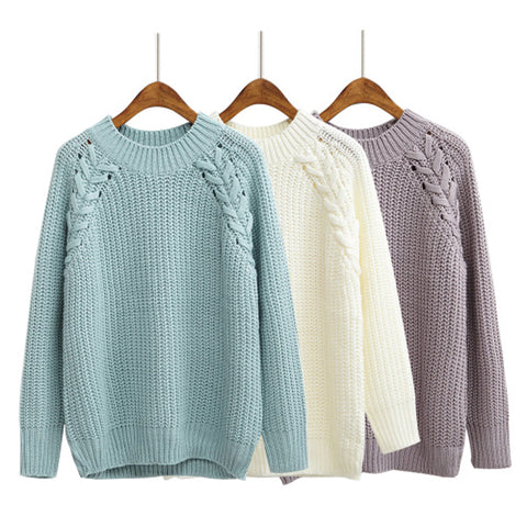 Casual Winter Women O-Neck Twist Knitted Sweater