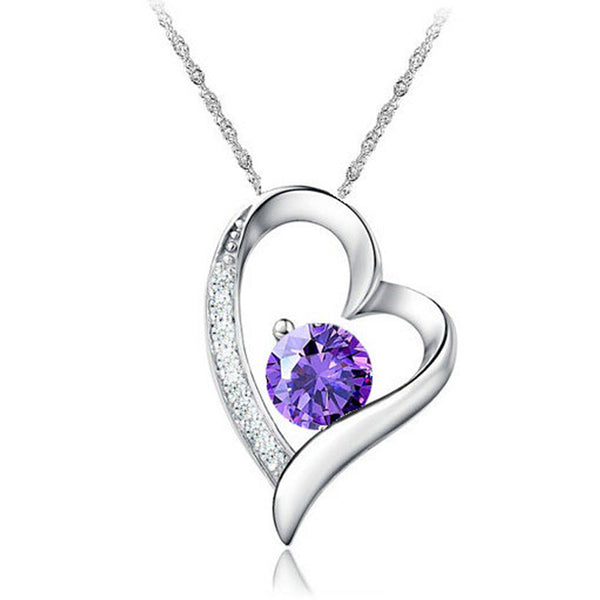 Crystal Heart Necklaces 925 Sterling Silver