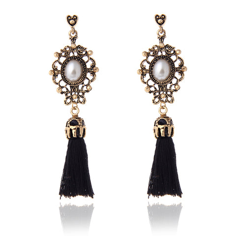 Vintage Accessories Rhinestone Crystal Alloy Flower Tassel Earrings For Women Pendientes Brincos Statement Earrings e0237