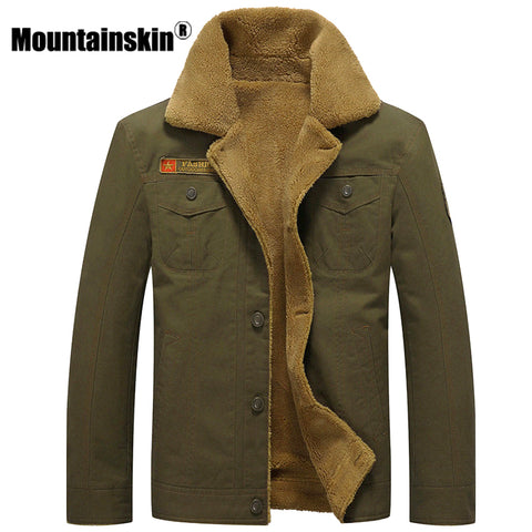 Mountainskin Thicken Fleece Winter Jackets Men's Coats 5XL Cotton Fur Collar Men's Jackets Military Casual Male Outerwear SA351