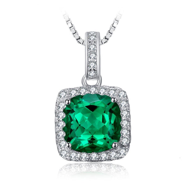 Emerald Halo Pendants 925 Sterling Silver Charms