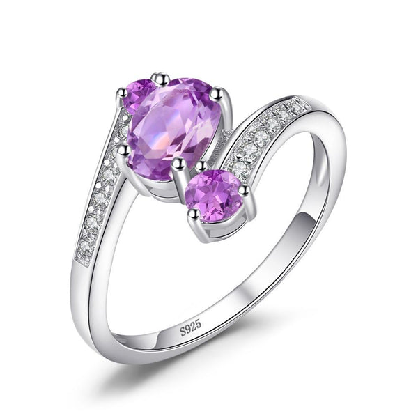Pure 925 Sterling Silver Natural Amethyst 3 Stone Ring