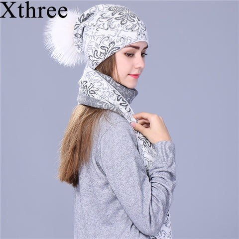 Winter Warm Knitted scarf hat set
