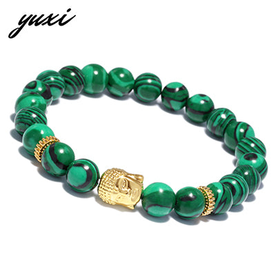 YUXI Elastic Bead Chain Gold Buddha Bracelets For Men Buddhism Beaded Men's Bracelet Male Hand Accessories Pulseira Masculina