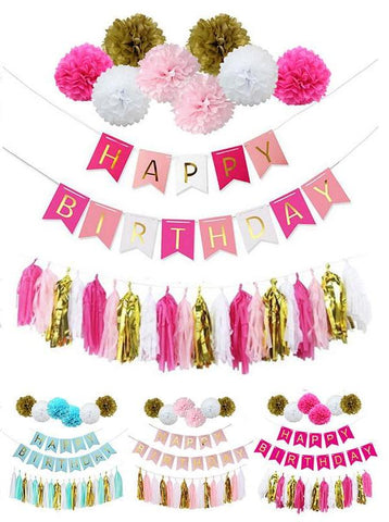 Birthday Decor Paper Flower Ball Tassels Boy Girl