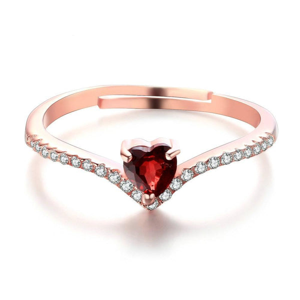 Heart Red Garnet Ring 925 Sterling Silver