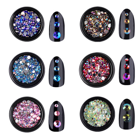 1 Box AB Colorful Nail Art Rhinestones 3d Tiny Glitter Nail Tips Decorations Silver Flatback Charm Jewelry Manicure Accessories