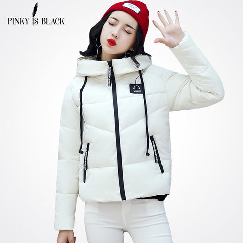 Pinky Is Black Winter Jacket Women Cotton Short Jacket