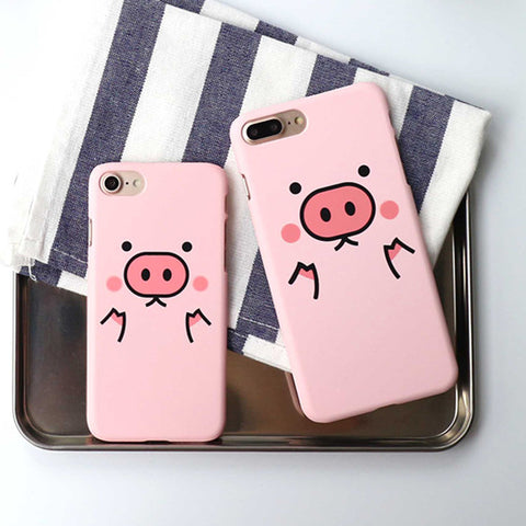 LOVECOM Cartoon Pink Cute Pigs Phone Back Cover Case For iPhone 5 5S SE 6 6S 7 8 Plus X Matte Hard PC Mobile Phone Bags & Cases