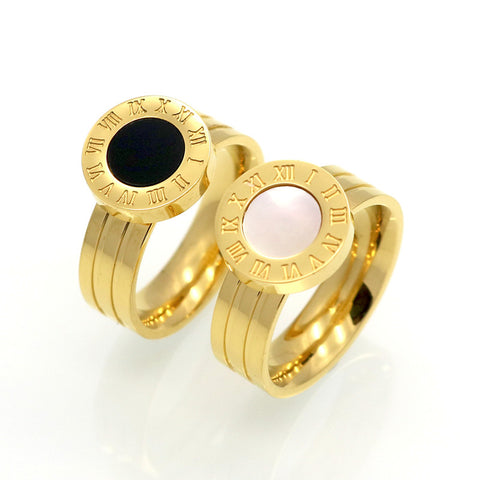 Hot!! Famous Brand Women Rings Gold/Rose Gold Color Stainless Steel Ring Roman Numeral Shells Luxury Jewelry Female Top Quality