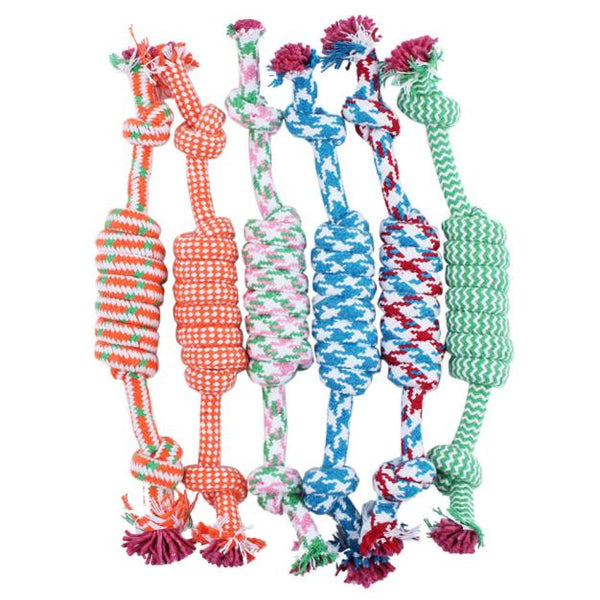 1PC Random Color New 27CM Dog Pet Puppy Chew Cotton Rope Ball Braided Knot Toy Durable Braided Bone Rope Funny Tool