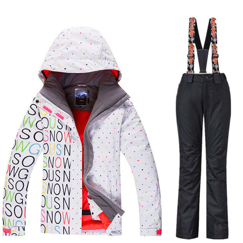 GSOU SNOW Brand Waterproof Ski Suit Women Ski Jacket Pants Winter Snowboard Jacket Pants Mountain Skiing Suit Women Snow Clothes