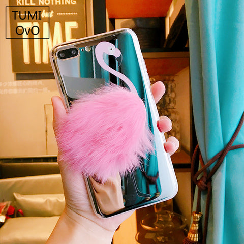 3D For iPhone 8 Plus Pink Flamingo Plush Luxury Mirror Rabbit Hair Case For iPhone 6 6s 7 Plus Back Phone Cover Soft TPU Silicon