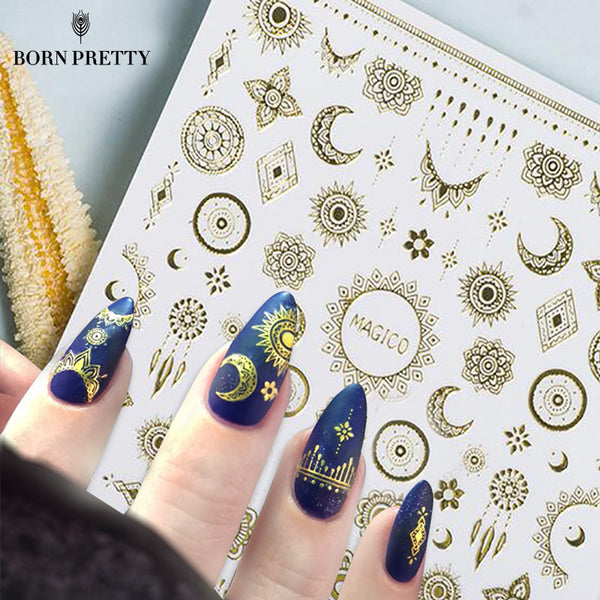 1 Sheet Ultrathin 3D Nail Stickers Star/Moon Image Transfer Decal Gold Color 10.3*8cm Adhesive Nail Art Decorations