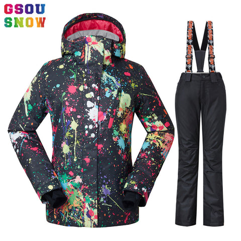 GSOU SNOW Waterproof Ski Suit Women Ski Jacket Pants Female Winter Outdoor Skiing Snow Snowboard Jacket Pants Snowboard Sets