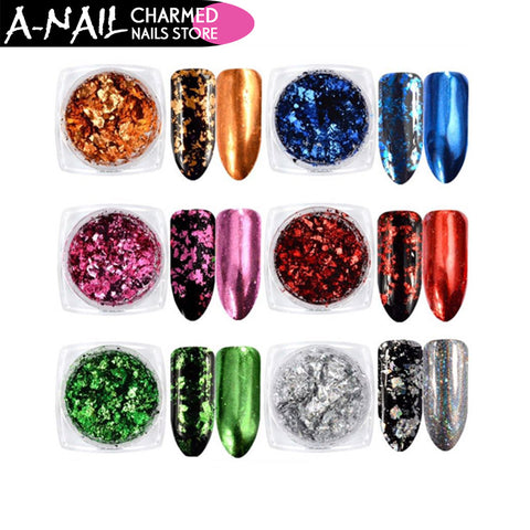 0.2g/box 6 Colors Nail Glitter Aluminum Flakes Mirror Effect Nail Powders Irregular Sequins Chrome Pigment Nail Art Decorations
