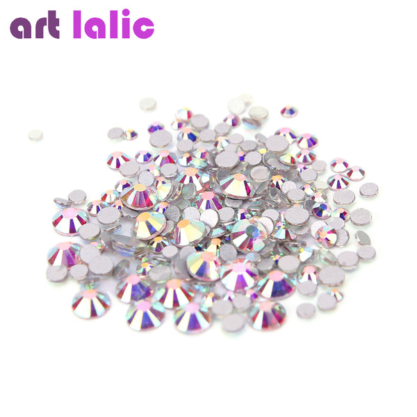 1440Pcs AB Silver Clear Glass Crystal Rhinestones Mix Sizes Nail Art Stones Strass Foil Back Diamonds Glitter Decoration Tips