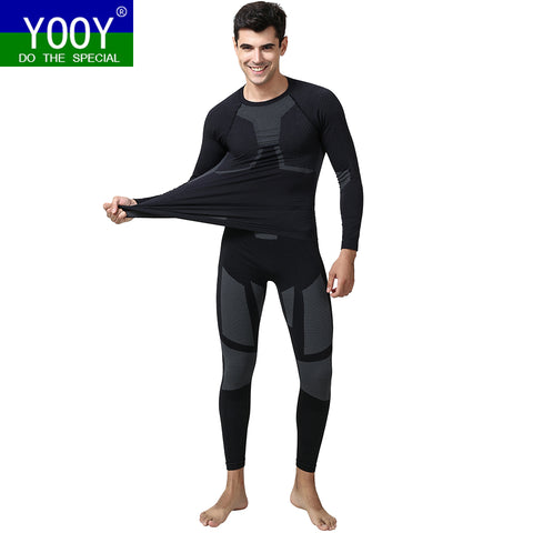 YOOY Men Ski Thermal Underwear Set Boy Quick Dry functional Compression Tracksuit Fitness Tight Shirts Sport Black Sport Suits