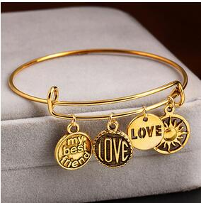 1pc  Retro gold tone leaf love anchor sun pendant Simple Wiring Bracelet for women men diy bracelet jewelry accessories findings