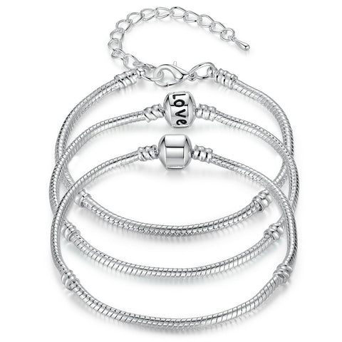 BAMOER 5 Style Silver Color LOVE Snake Chain Bracelet & Bangle 16CM-21CM Pulseras Lobster PA1104