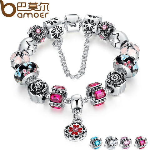 BAMOER Silver Original Glass Bead Strand Bracelet for Women With Safety Chain & Crystal Fashion Jewelry 18CM 20CM 21CM PA1836