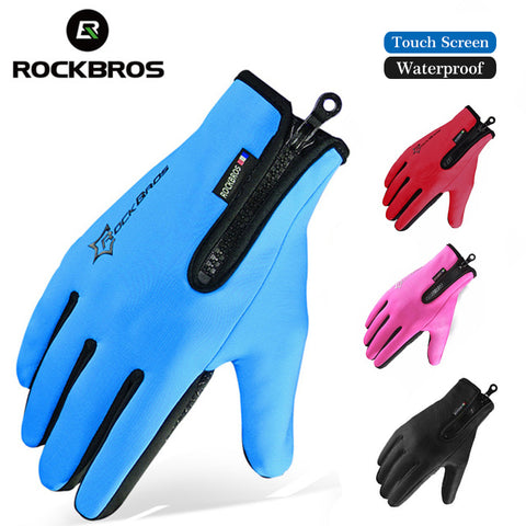 ROCKBROS Winter Skiing Fleece Thermal Ski Gloves Snowboard Warm Sport Motorcycle Hiking Full Finger Men Women Glove Touch Screen