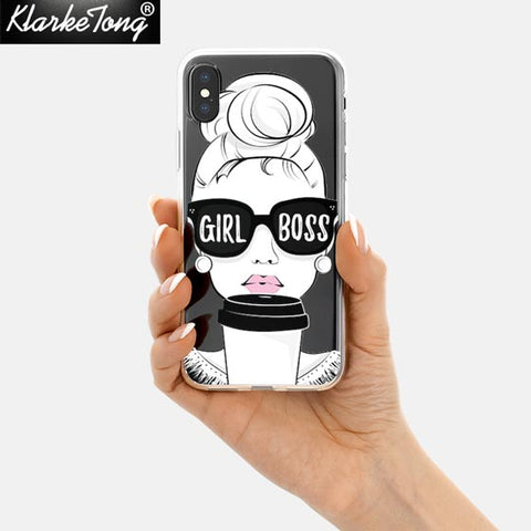 KlarkeTong Cute Funny Quotes Girl Boss Case For iPhone X 8 7 6 6s Plus 5 5s SE Transparent Soft Silicone Protective Phone Cover