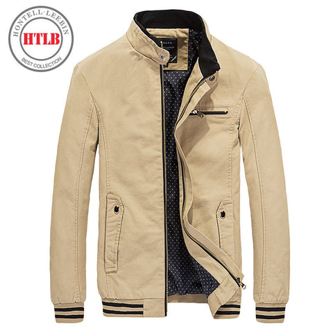 HTLB 2017 Brand New Spring Autumn Men Casual Jacket Coat Men's Fashion Washed 100% Pure Cotton Brand-Clothing Jackets Male Coats