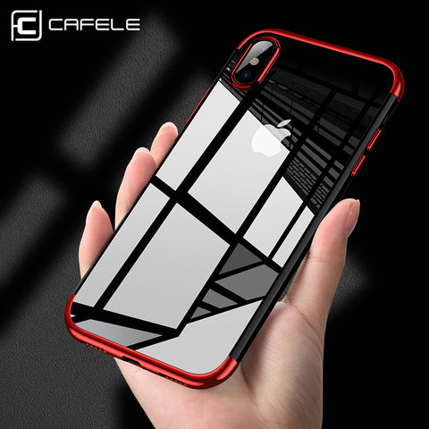 CAFELE Original phone Case for iPhone X 10 Luxury Fashion Transparent TPU Soft plated Mobile Phone Back Shell for iPhone X Case