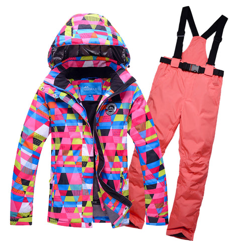 Free Deliver 2017 New Ski Suit Set women's Snowboard Jacket And Pants Ski Suit Women Windproof Waterproof Women's Winter Jackets